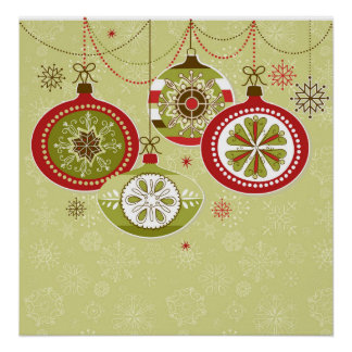 Green & Red Retro Christmas Ornaments Print
