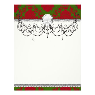 green red romantic christmas damask 21.5 cm x 28 cm flyer