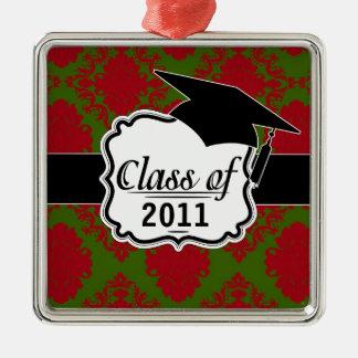 green red romantic christmas damask graduation christmas ornament