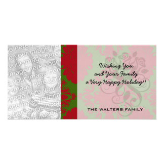 green red romantic christmas damask picture card