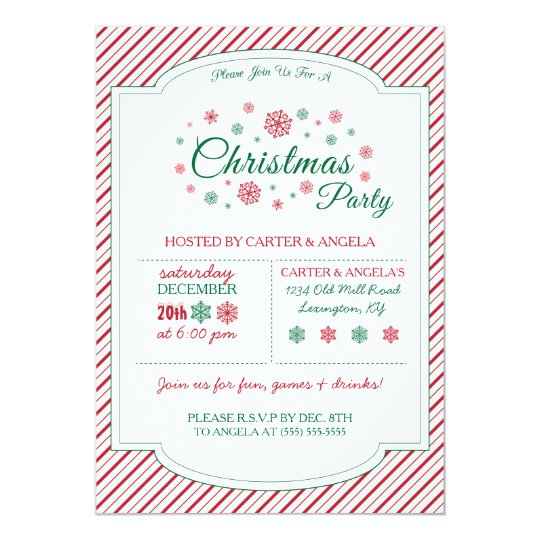 Green & Red Snowflake Party Invitation