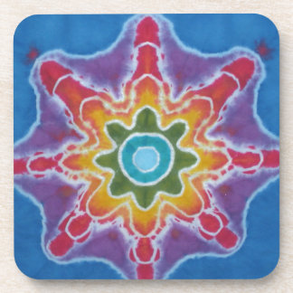 Green & Red Star Blue Background Tie Dye Coaster