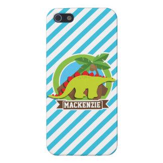 Green & Red Stegosaurus Dinosaur; Blue & White iPhone 5/5S Cases