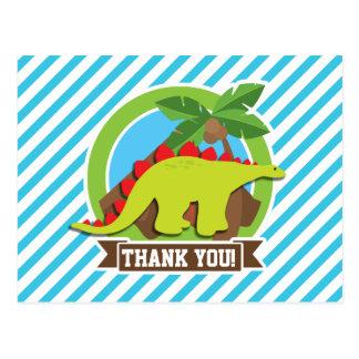 Green & Red Stegosaurus Dinosaur; Blue & White Post Cards
