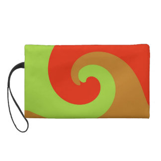Green Red Swirl Retro Funky Painting Abstract Art Wristlet Clutches