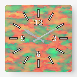 Green, Red Watercolor-Like Abstract Pattern Square Wall Clock