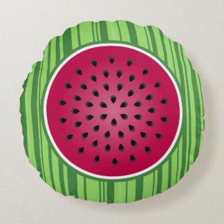 Green Red Watermelon Design Round Cushion