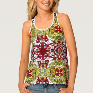 Green Red White And Yellow Dots Pattern Tank Top