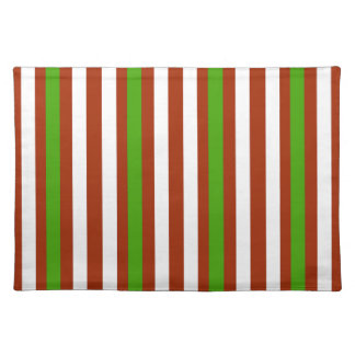 Green Red White Stripe Placemat