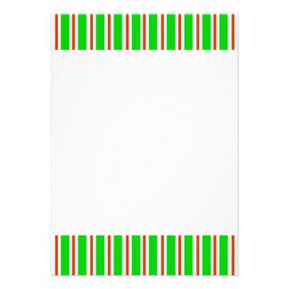 Green Red White Stripes Invitation
