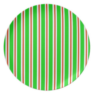 Green Red White Stripes Plate