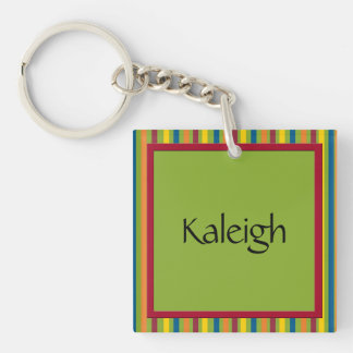 Green Red Yellow Blue Orange Stripes Double-Sided Square Acrylic Key Ring