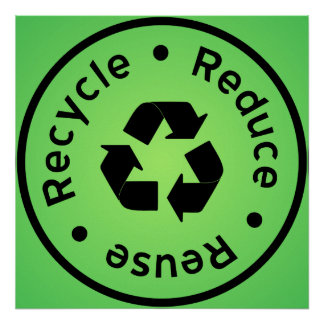 Green Reduce Reuse Recycle Poster