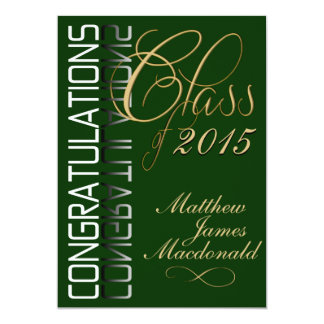 Green Reflection  Formal Graduation Party 13 Cm X 18 Cm Invitation Card
