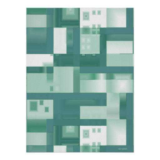 Green Reflections Abstract Print