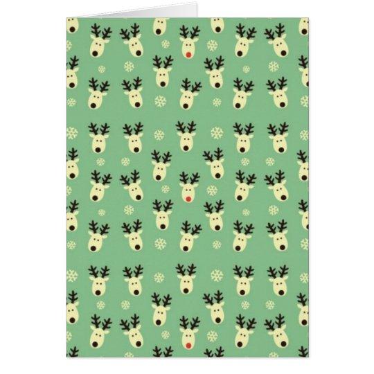 Green Reindeer Pattern Card
