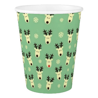 Green Reindeer Pattern Paper Cups