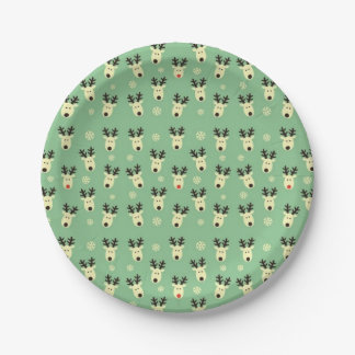 Green Reindeer Pattern Party Paper Plate