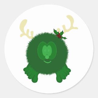 Green Reindeer Pom Pom Pal Stickers