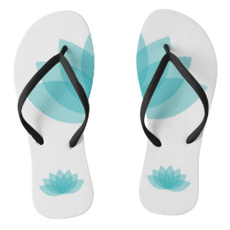 Green relaxing lotus flip flops