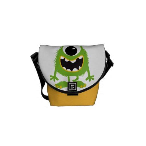 Green Retro Cute Monster Courier Bag