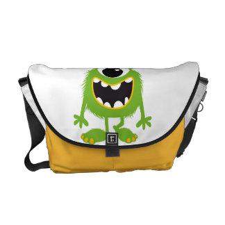 Green Retro Cute Monster Messenger Bag