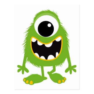 Green Retro Cute Monster Postcard