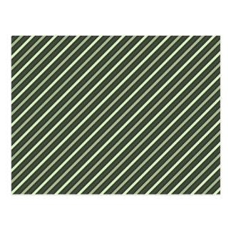 Green Retro Diagonal Stripes Post Card