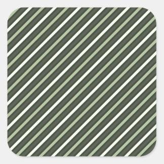 Green Retro Diagonal Stripes Square Sticker