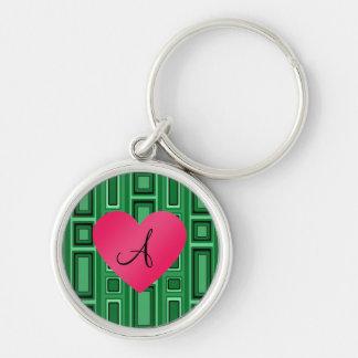 Green Retro squares monogram Keychains