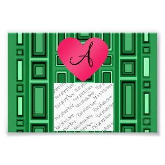 Green Retro squares monogram Photographic Print
