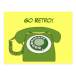 Green Retro Style Dial Telephone - Go Retro! Post Card