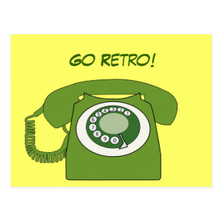 Green Retro Style Dial Telephone - Go Retro! Postcard