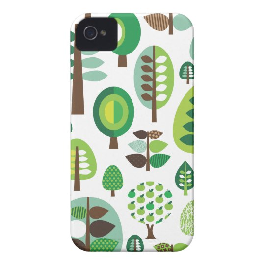 Green retro trees and plants blackberry case