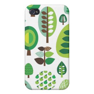 Green retro trees and plants iphone case iPhone 4 cover