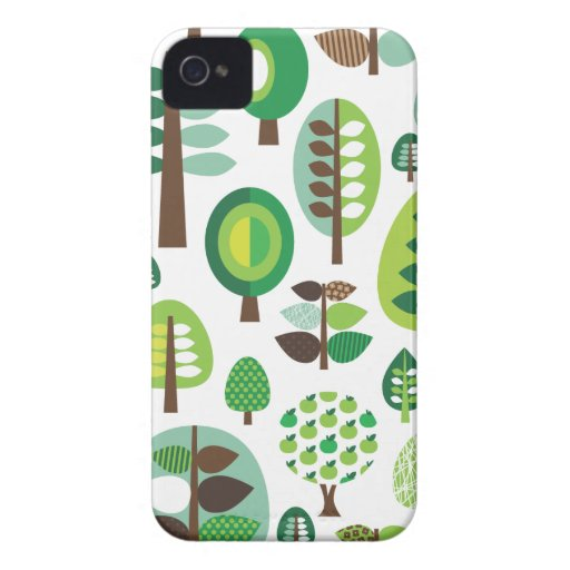Green retro trees and plants iphone case iPhone 4 Case-Mate case