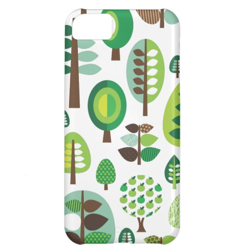 Green retro trees and plants iphone case iPhone 5C case
