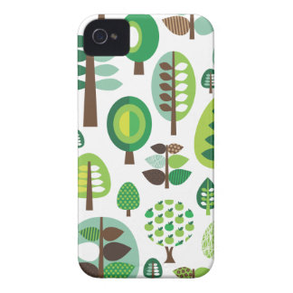 Green retro trees and plants iphone case