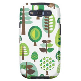 Green retro trees and plants samsung case galaxy s3 cover