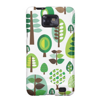 Green retro trees and plants samsung case galaxy s2 covers