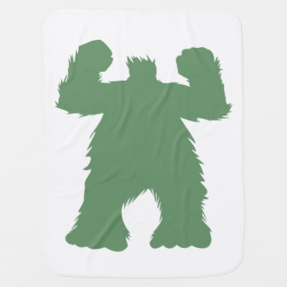 Green Retro Yeti Illustration Baby Blanket