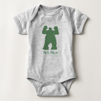 Green Retro Yeti illustration Baby Bodysuit