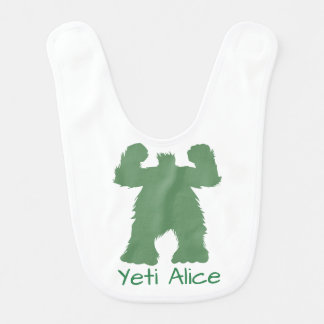 Green Retro Yeti Illustration Bib