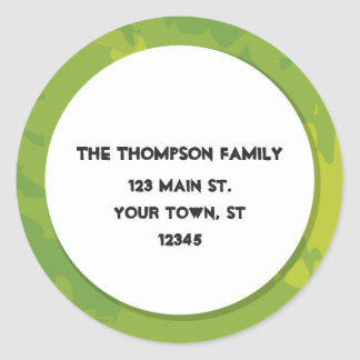 Green Return Address Label Round Sticker