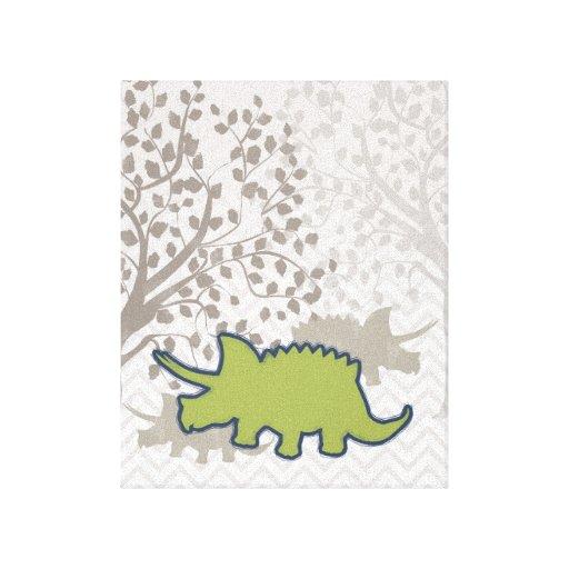 Green Rhinosaur on Zigzag Chevron - Mono Gallery Wrapped Canvas