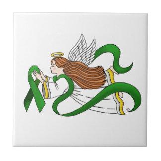 """Green Ribbon"" Awareness Angel Small Square Tile"