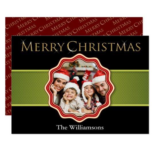 Green Ribbon Colourful Christmas Medallion Photo Card