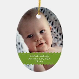 Green ribbon custom photo baby birth statistic christmas ornament