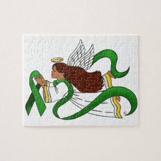 Green Ribbon Ethnic Angel Puzzle