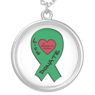 "Green Ribbon - In memory of  ""Enter your own name"" Silver Plated Necklace"